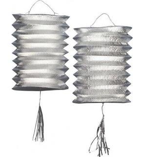 2 Lampions métalliques argentés